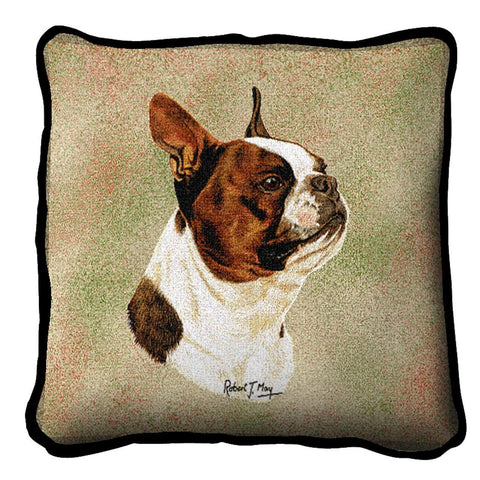 Boston Terrier Brown Pillow Cover