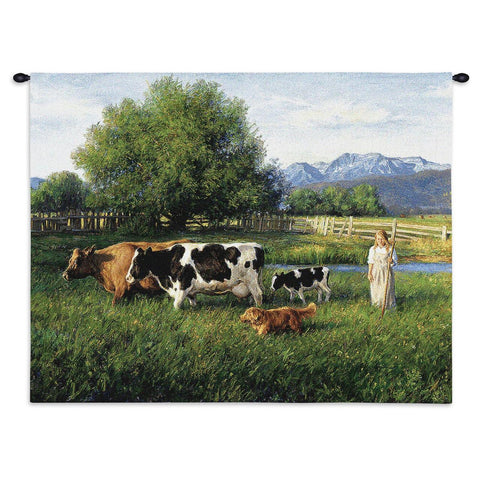 Country Girl Wall Tapestry With Rod