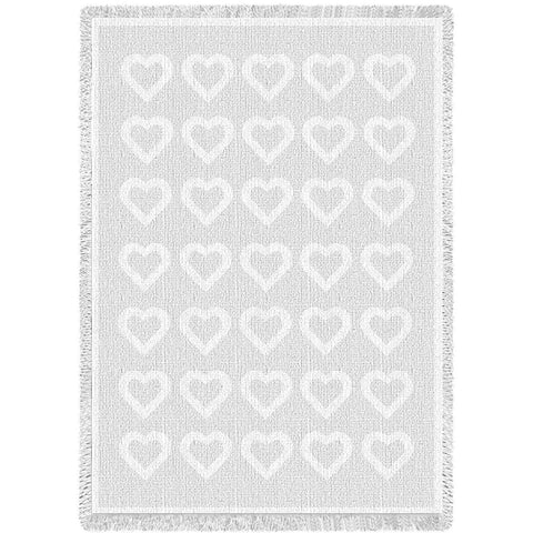 Basketweave Hearts White Natural Blanket