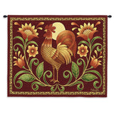 Sunrise Rooster Wall Tapestry With Rod