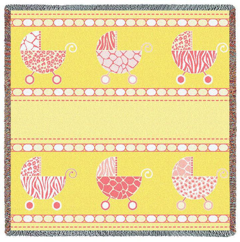 Pram Pink and Yellow Small Blanket