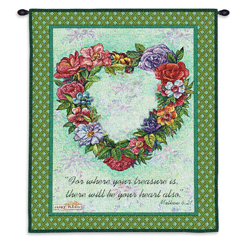 Treasured Heart Wall Tapestry With Rod