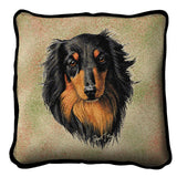 Long-haired Dachshund Black and Tan Pillow