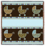Pram Blue and Brown Small Blanket