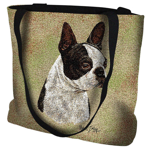 Boston Terrier Black Tote Bag