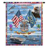 Navy Sea Power Wall Tapestry With Rod