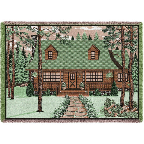 Log Cabin With Sign Blanket