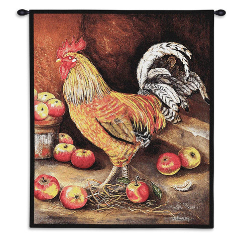 English Cockerel Wall Tapestry With Rod
