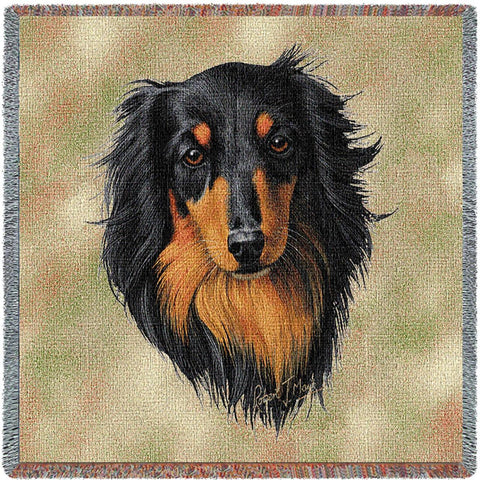 Long-haired Dachshund Black and Tan Small Blanket