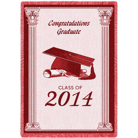 2014 Congrats Grad Red Blanket
