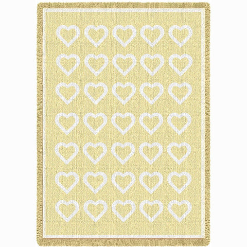 Basketweave Hearts Chenille Natural Mini Blanket