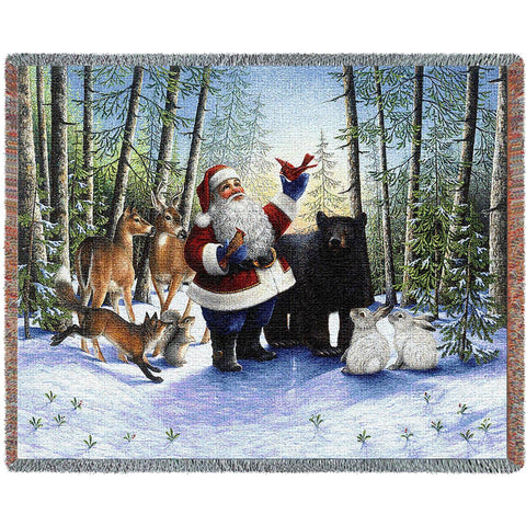 Santa In The Forest Blanket