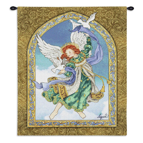 Peaceful Angel Wall Tapestry With Rod