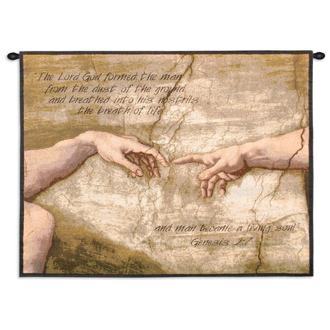 Creation of Adam With Words Wall Tapestry With Rod