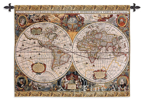 Antique Map Geographica Small Wall Tapestry