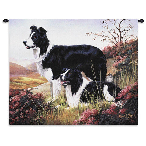 Border Collie Wall Tapestry with Rod