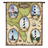 Lighthouses of the Southeast II Wall Tapestry With Rod
