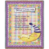Jesus Loves Me Purple Border Small Blanket