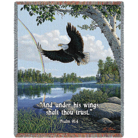 On Eagles Wings With Words Blanket