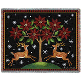 Deer Poinsettia and Tree Blanket