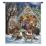 Snowfall Nativity Wall Tapestry With Rod