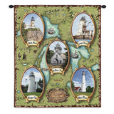 Lighthouses of the Great Lakes II Wall Tapestry With Rod