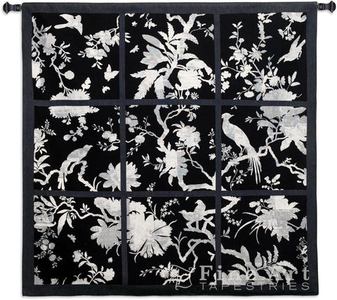 Floral Division Black and White Small Wall Tapestry