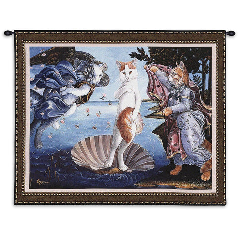 Kitty On A Half Shell Wall Tapestry With Rod