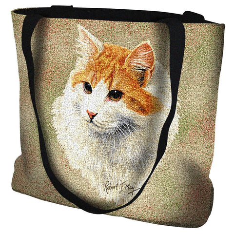 Red and White Short Hair Tote Bag