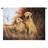 Labrador Retrievers Yellow Wall Tapestry with Rod