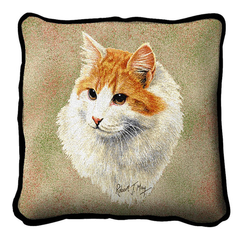 Red and White Short Hair Pillow Cover