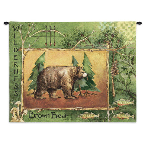 Brown Bear Wall Tapestry With Rod