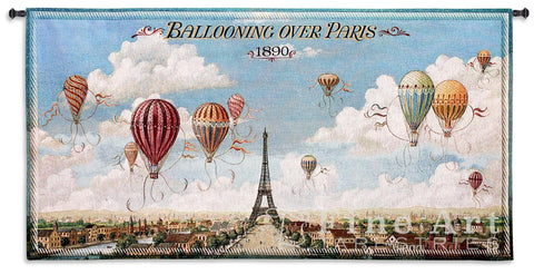 Ballooning Over Paris Wall Tapestry
