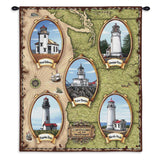 Lighthouses of the Northwest Wall Tapestry With Rod