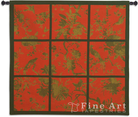 Floral Division Red Gold Black Small Wall Tapestry