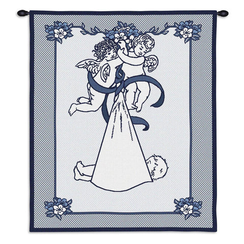 New Angel and Baby Boy Wall Tapestry With Rod