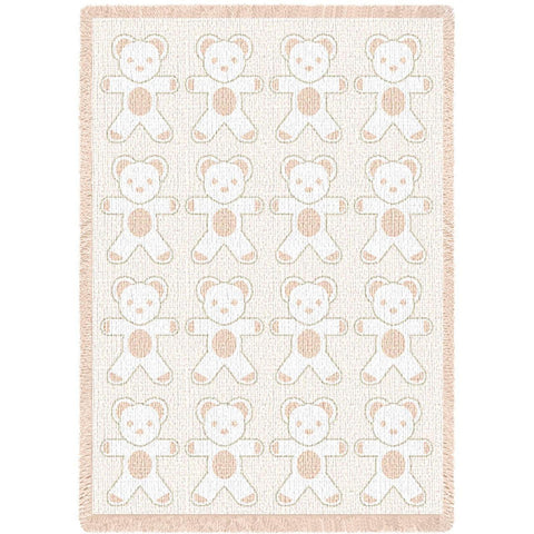 Teddy Bears Natural Small Blanket