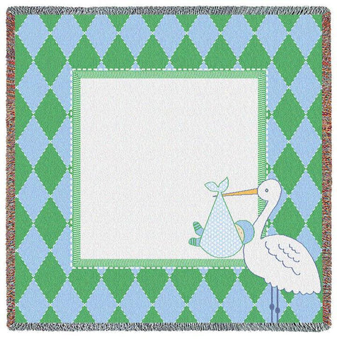 Stork Diamond Green Small Blanket