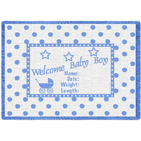 Welcome Baby Boy Small Blanket