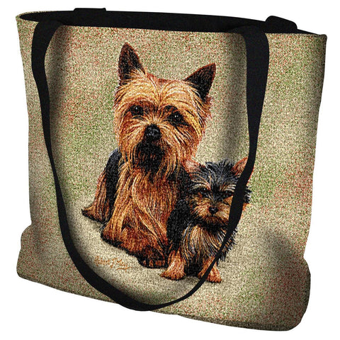 Yorkshire Terrier with Puppy Tote Bag