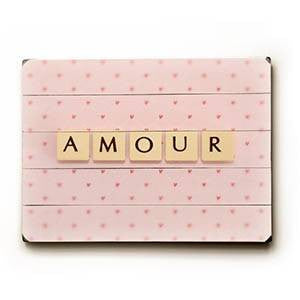 Amour Wood Sign 18x24 (46cm x 61cm) Planked
