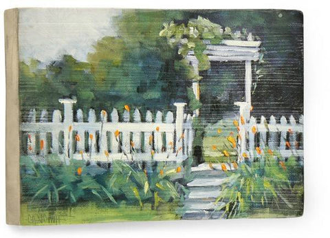 White picket fence Wood Sign 9x12 (23cm x 31cm) Solid