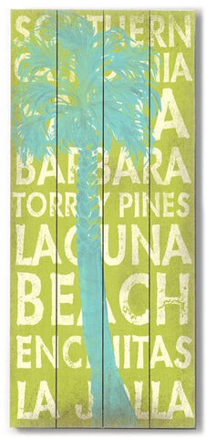 California Palm Blue Wood Sign 10x24 (26cm x61cm) Planked
