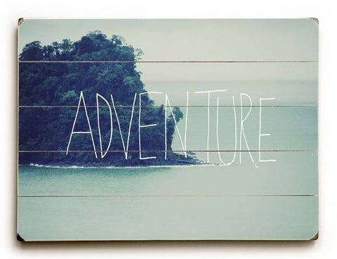 Adventure Blue Wood Sign 30x40 (77cm x102cm) Planked