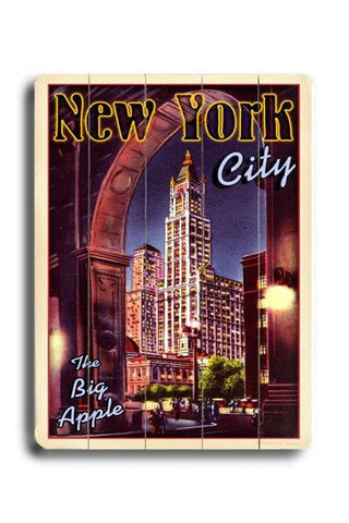 New York City Wood Sign 12x16 Planked