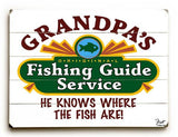 Grandpa's Fishing Guide Wood Sign 12x16 Planked