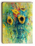Sunflowers Wood Sign 14x20 (36cm x 51cm) Planked