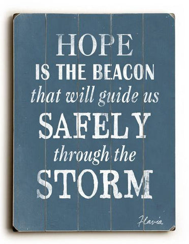Hope is the Beacon Wood Sign 14x20 (36cm x 51cm) Planked