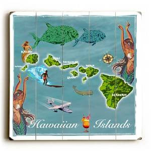 Hawaii Map Wood Sign 13x13 Planked