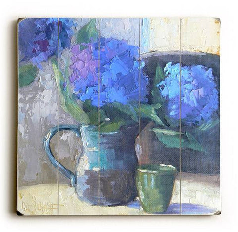 Blue Flower Spout Wood Sign 13x13 Planked